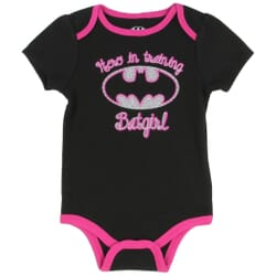 7c3e84509 DC Comics Batgirl Hero In Training With Silver Bat Signal Black Baby Onesie  At Space City