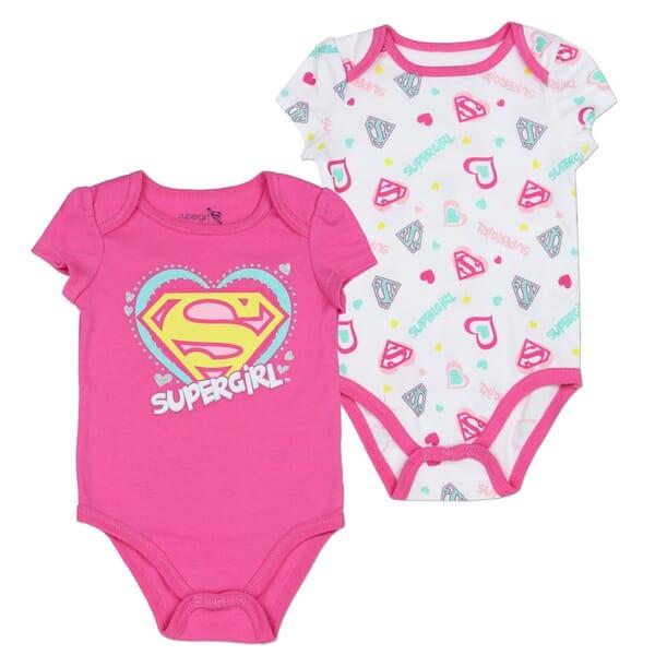899617beb DC Comic Supergirl Pink And White 2 Pc Onesie Set
