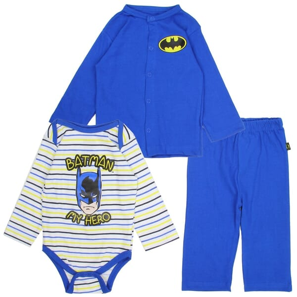 0dd596e7be DC Comics Batman My Hero Long Sleeve Onesie Snap Down Blue Jacket And Blue  Pants Space. Loading zoom