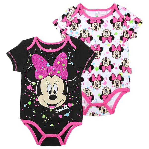 394ce6a19 Disney Minnie Mouse Smile Black And White 2 Pack Onesie Set Space City Kids  Clothing Store. Loading zoom