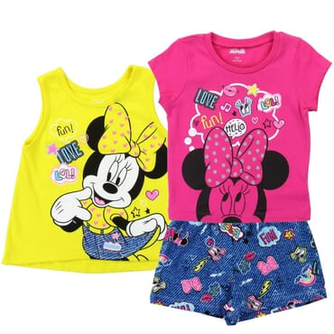 cfc78cfe Disney Minnie Mouse tank Top Shirt and Shorts Toddler Girls 3 Piece Short  Set Space City