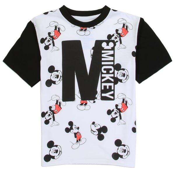 Disney Mickey Mouse All Over Print Black And White Toddler Boys Shirt