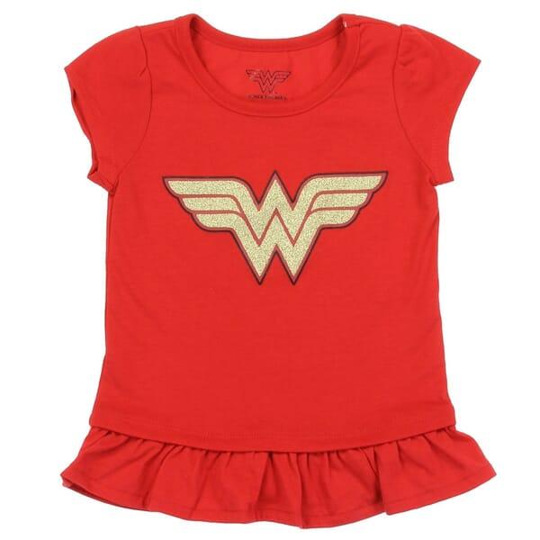 4f2fc42d DC Comics Wonder Woman Logo Red Toddler Girls Shirt Space City Kids Clothing  Store. Loading zoom