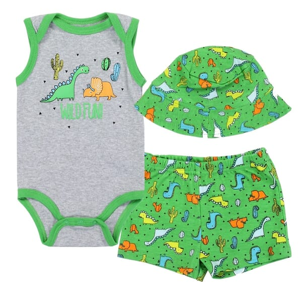 e2052d8a7 Weeplay Wild Fun Dinosaurs Baby Boys 3 Piece Short Set Space City Kids  Cllothing. Loading zoom